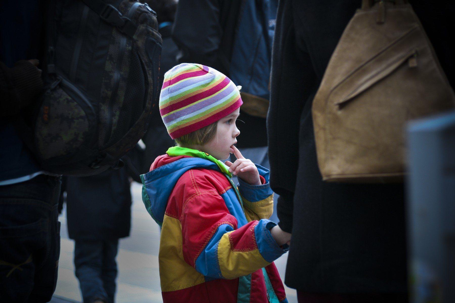 Child in bright coat