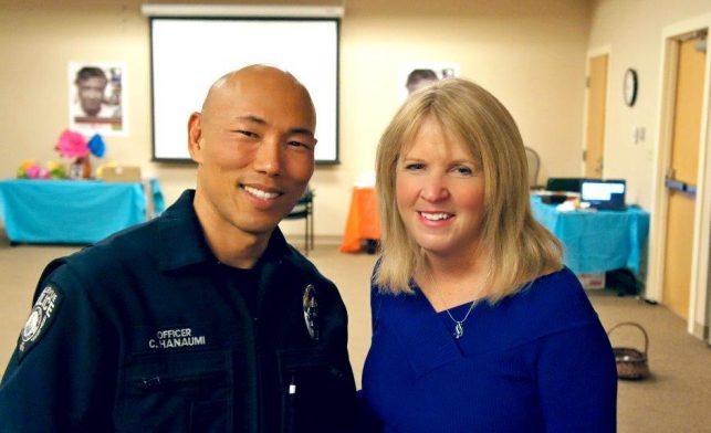 Officer Craig Hanaumi and Patti Skelton-McGougan